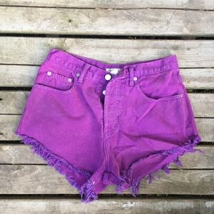 Purple dyed frayed jean shorts